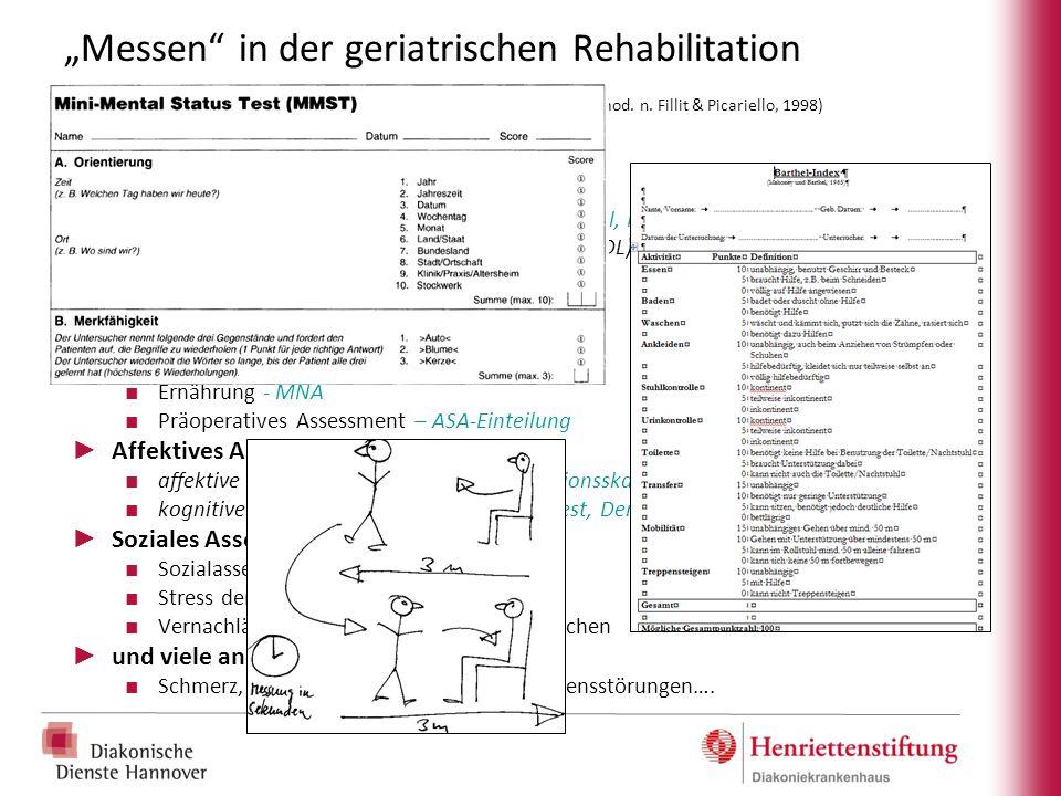 """""""Messen"""" in der geriatrischen Rehabilitation Geriatrisches Assessments (Auswahl, mod. n. Fillit & Picariello, 1998) ► Funktionales Assessment (Beispie"""