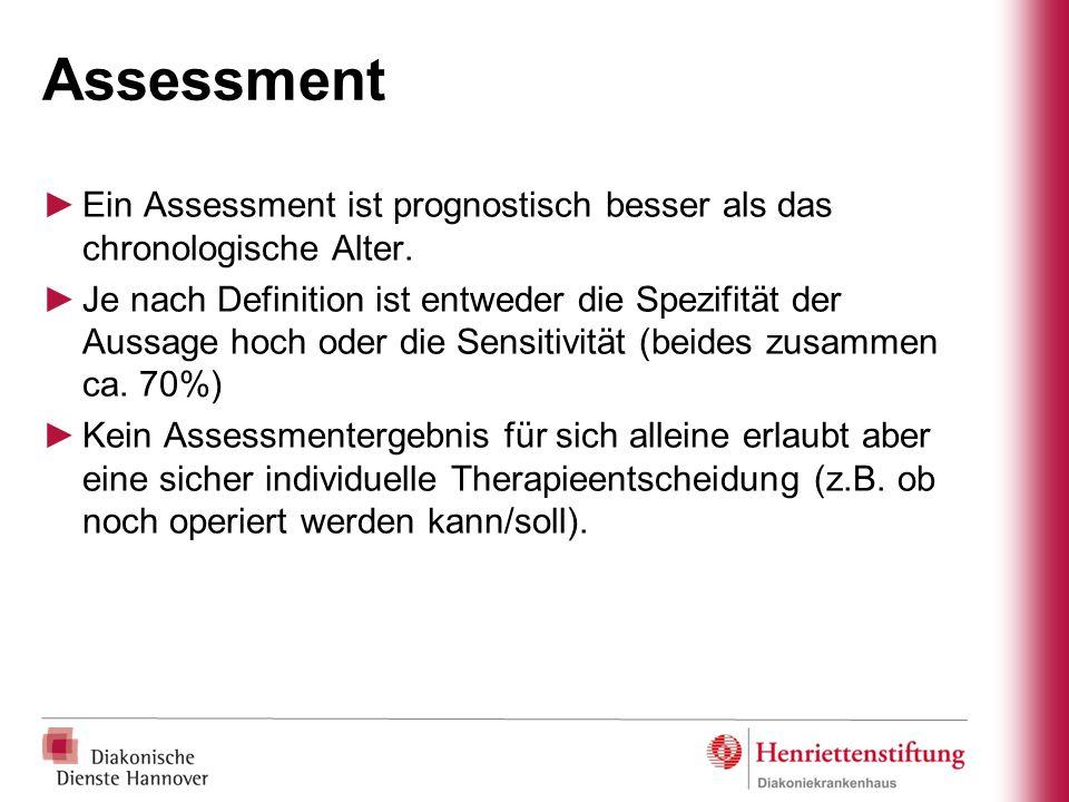 Assessment ►Ein Assessment ist prognostisch besser als das chronologische Alter. ►Je nach Definition ist entweder die Spezifität der Aussage hoch oder