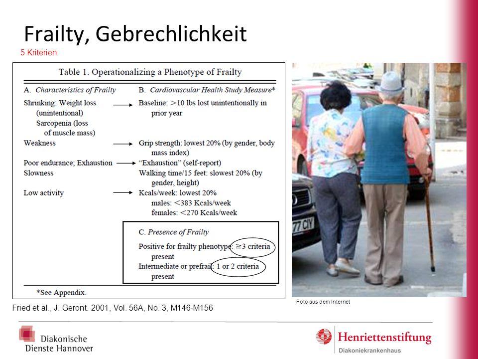 Frailty, Gebrechlichkeit Fried et al., J. Geront. 2001, Vol. 56A, No. 3, M146-M156 5 Kriterien Foto aus dem Internet