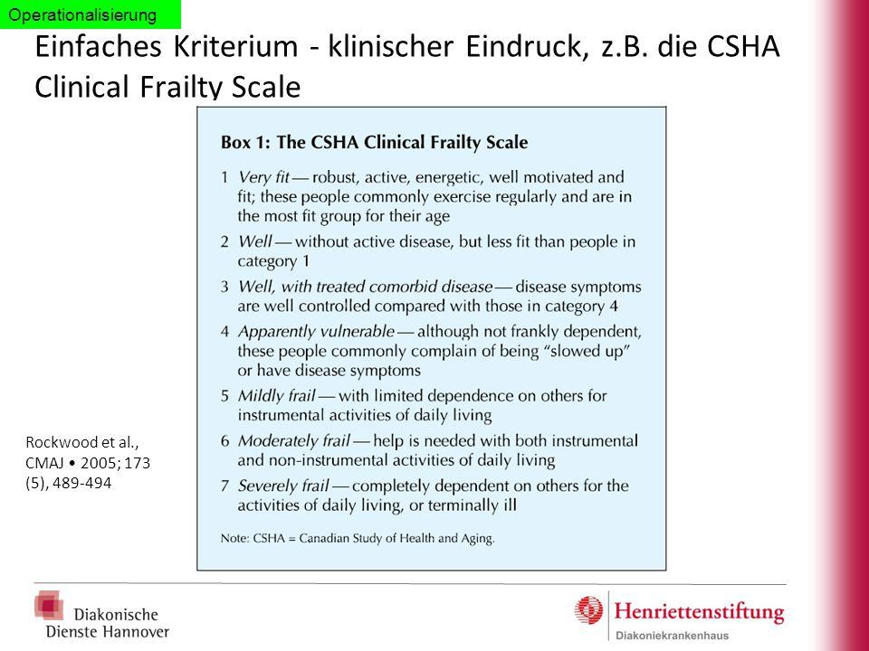 Einfaches Kriterium - klinischer Eindruck, z.B. die CSHA Clinical Frailty Scale Rockwood et al., CMAJ 2005; 173 (5), 489-494 Operationalisierung