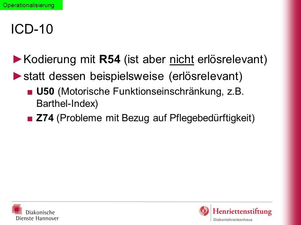 ICD-10 ►Kodierung mit R54 (ist aber nicht erlösrelevant) ►statt dessen beispielsweise (erlösrelevant) ■U50 (Motorische Funktionseinschränkung, z.B. Ba
