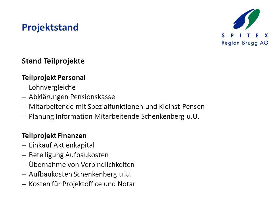 Projektstand Teilprojekt Personal  Lohnvergleiche  Abklärungen Pensionskasse  Mitarbeitende mit Spezialfunktionen und Kleinst-Pensen  Planung Information Mitarbeitende Schenkenberg u.U.
