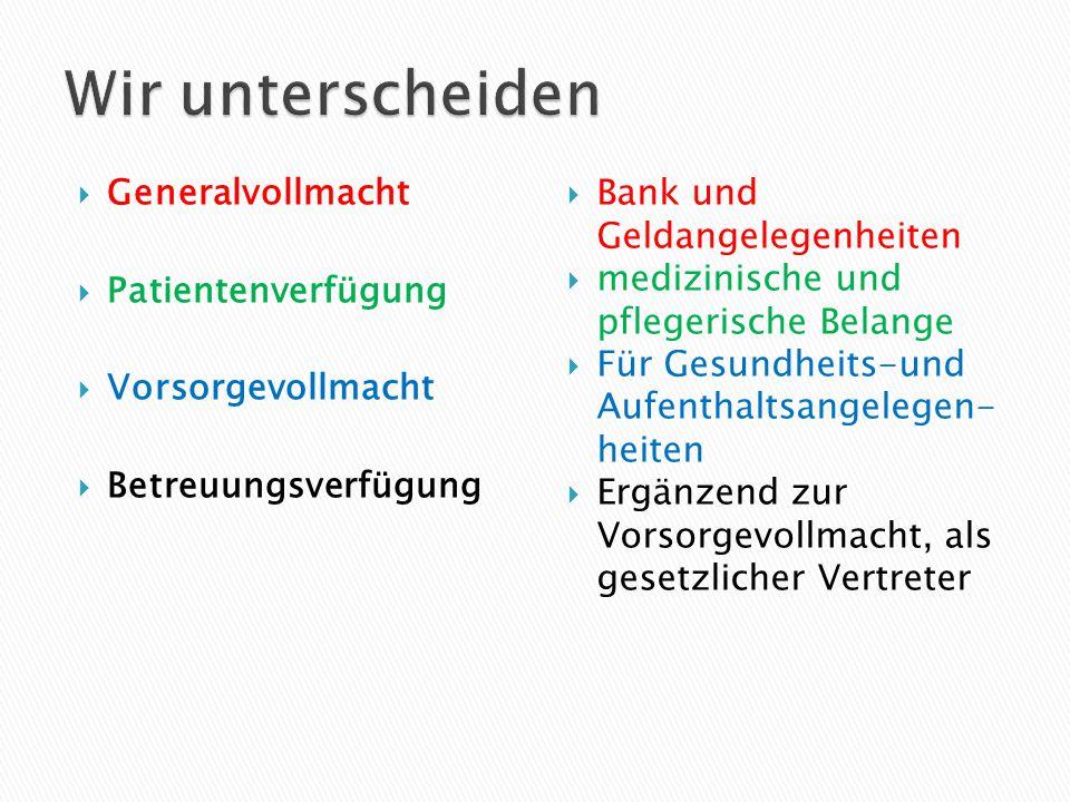 Generalvollmacht  Patientenverfügung  Vorsorgevollmacht  Betreuungsverfügung  Bank und Geldangelegenheiten  medizinische und pflegerische Belan