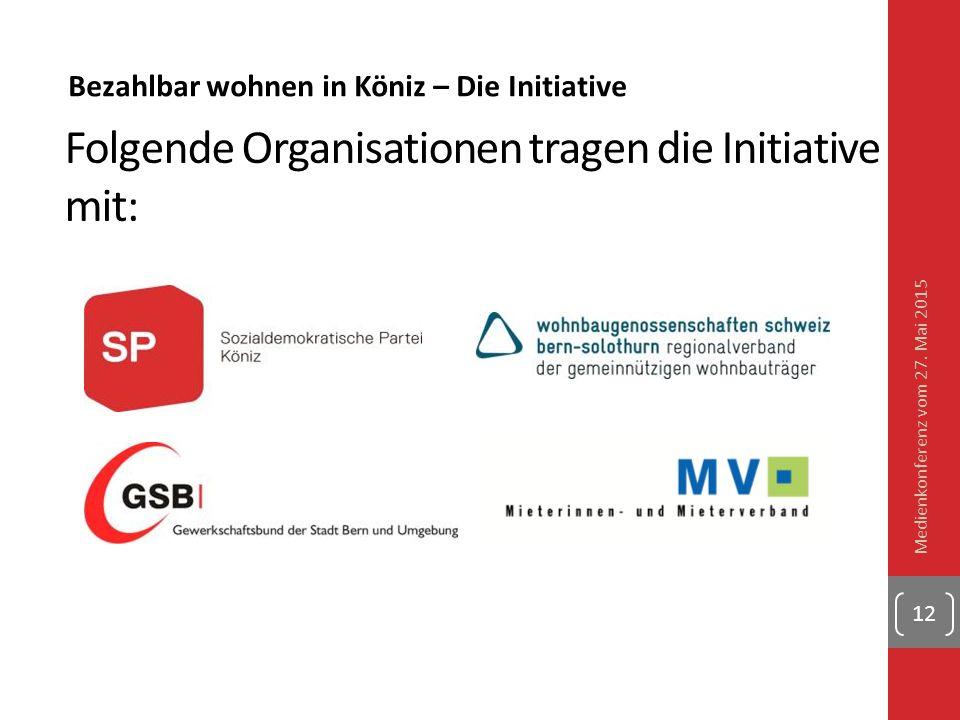 Bezahlbar wohnen in Köniz – Die Initiative Folgende Organisationen tragen die Initiative mit: Medienkonferenz vom 27. Mai 2015 12