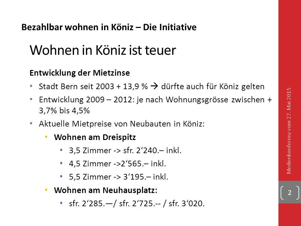 Bezahlbar wohnen in Köniz – Die Initiative Wohnen in Köniz ist teuer Entwicklung der Mietzinse Stadt Bern seit 2003 + 13,9 %  dürfte auch für Köniz g
