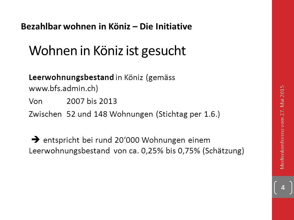 Bezahlbar wohnen in Köniz – Die Initiative Wohnen in Köniz ist gesucht Leerwohnungsbestand in Köniz (gemäss www.bfs.admin.ch) Von 2007 bis 2013 Zwisch