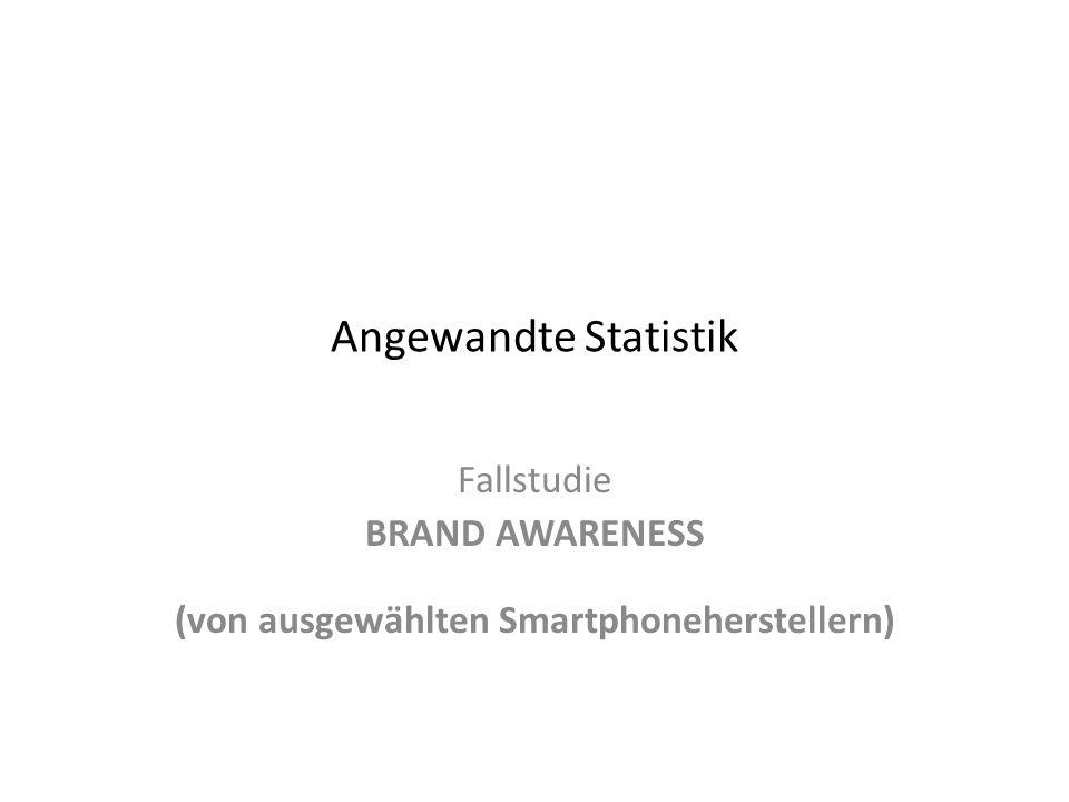 Angewandte Statistik Fallstudie BRAND AWARENESS (von ausgewählten Smartphoneherstellern)
