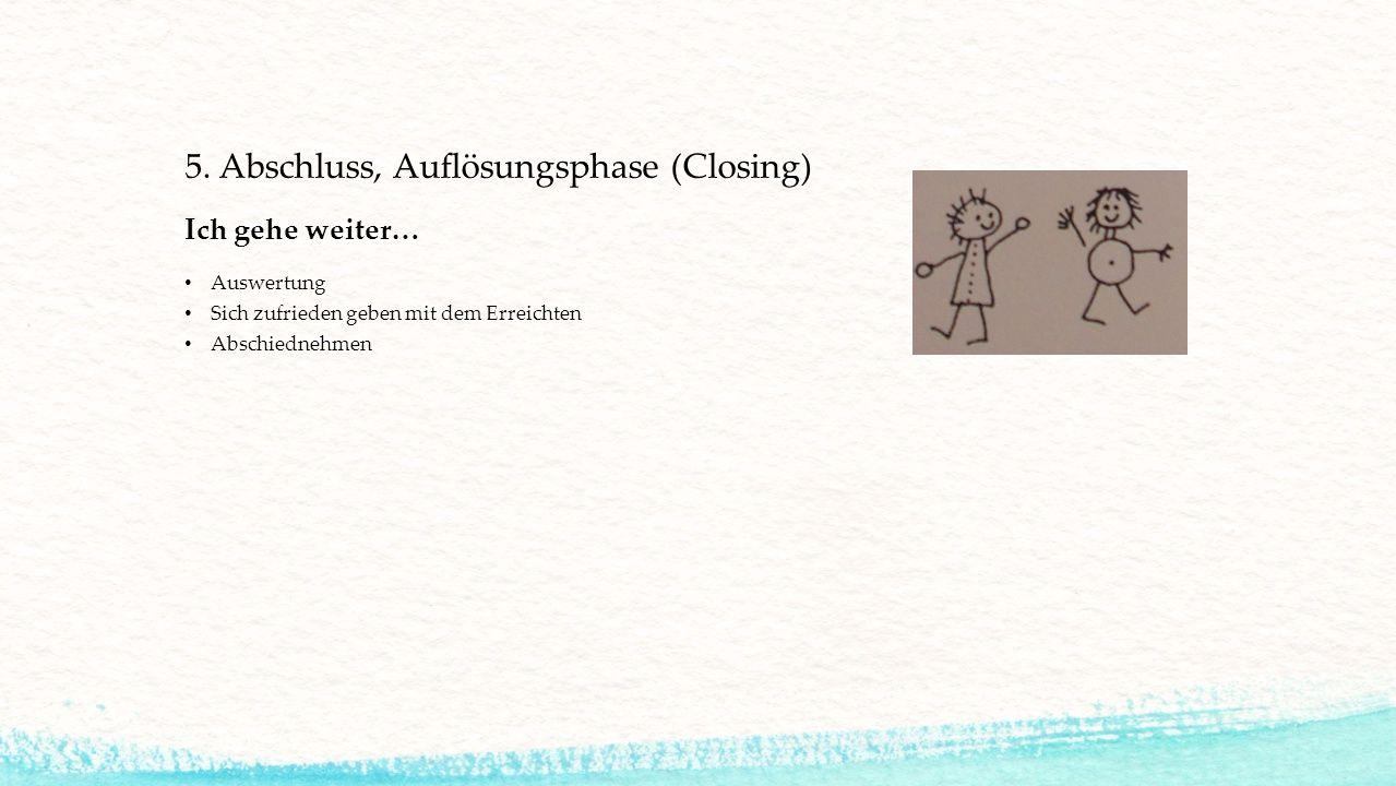 5. Abschluss, Auflösungsphase (Closing) Ich gehe weiter… Auswertung Sich zufrieden geben mit dem Erreichten Abschiednehmen