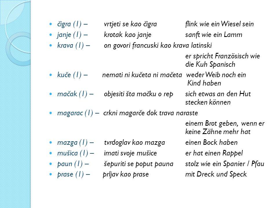čigra (1) – vrtjeti se kao čigra flink wie ein Wiesel sein janje (1) – krotak kao janje sanft wie ein Lamm krava (1) – on govori francuski kao krava l