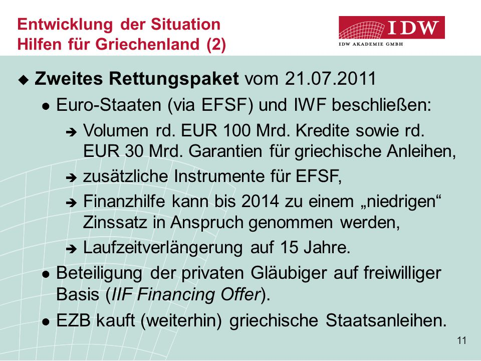 11 Entwicklung der Situation Hilfen für Griechenland (2)  Zweites Rettungspaket vom 21.07.2011 Euro-Staaten (via EFSF) und IWF beschließen:  Volumen