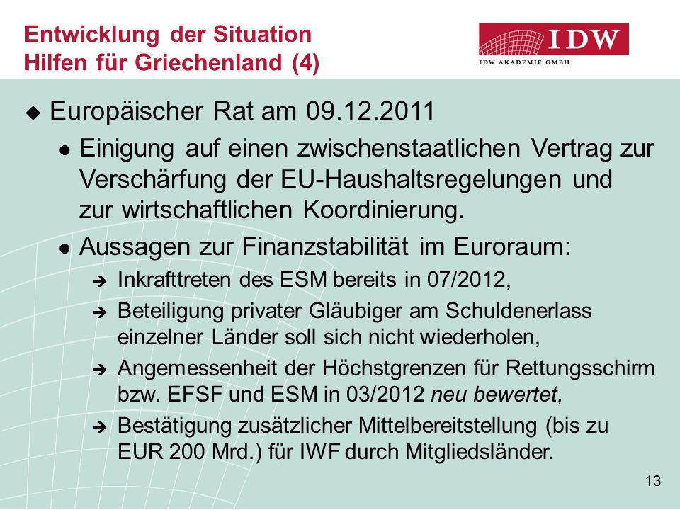 13 Entwicklung der Situation Hilfen für Griechenland (4)  Europäischer Rat am 09.12.2011 Einigung auf einen zwischenstaatlichen Vertrag zur Verschärfung der EU-Haushaltsregelungen und zur wirtschaftlichen Koordinierung.