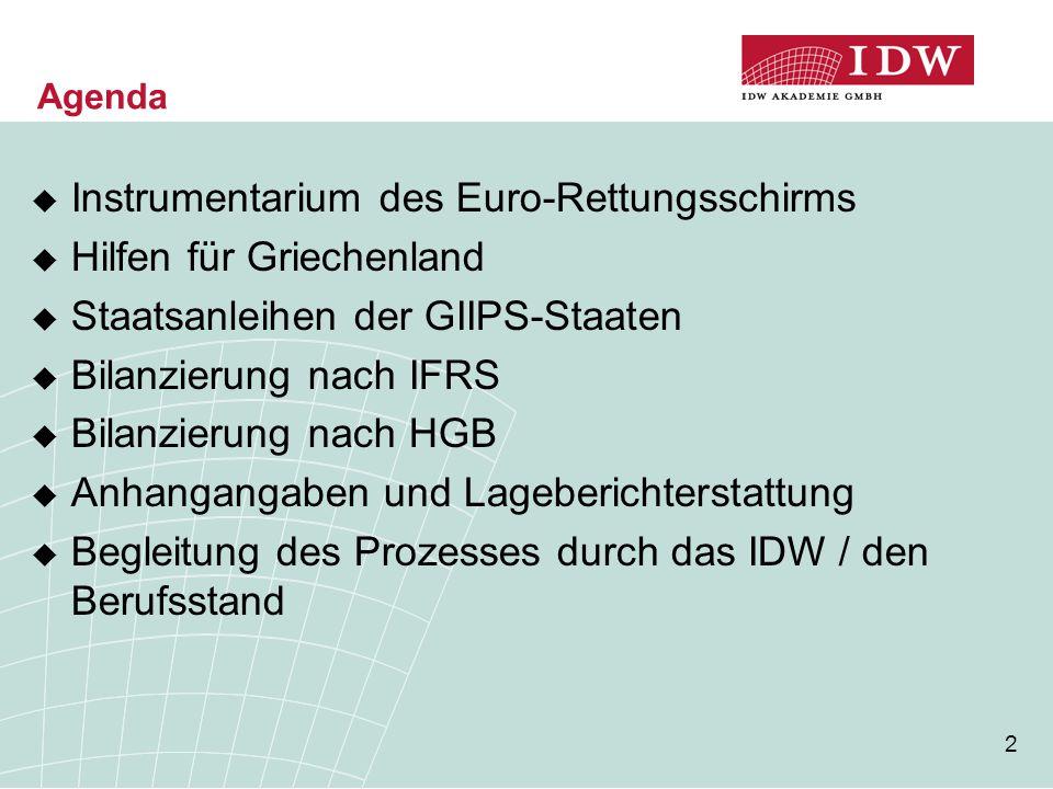 2 Agenda  Instrumentarium des Euro-Rettungsschirms  Hilfen für Griechenland  Staatsanleihen der GIIPS-Staaten  Bilanzierung nach IFRS  Bilanzierung nach HGB  Anhangangaben und Lageberichterstattung  Begleitung des Prozesses durch das IDW / den Berufsstand