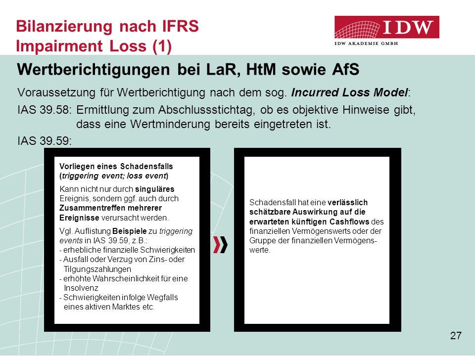 27 Bilanzierung nach IFRS Impairment Loss (1) Wertberichtigungen bei LaR, HtM sowie AfS Voraussetzung für Wertberichtigung nach dem sog. Incurred Loss