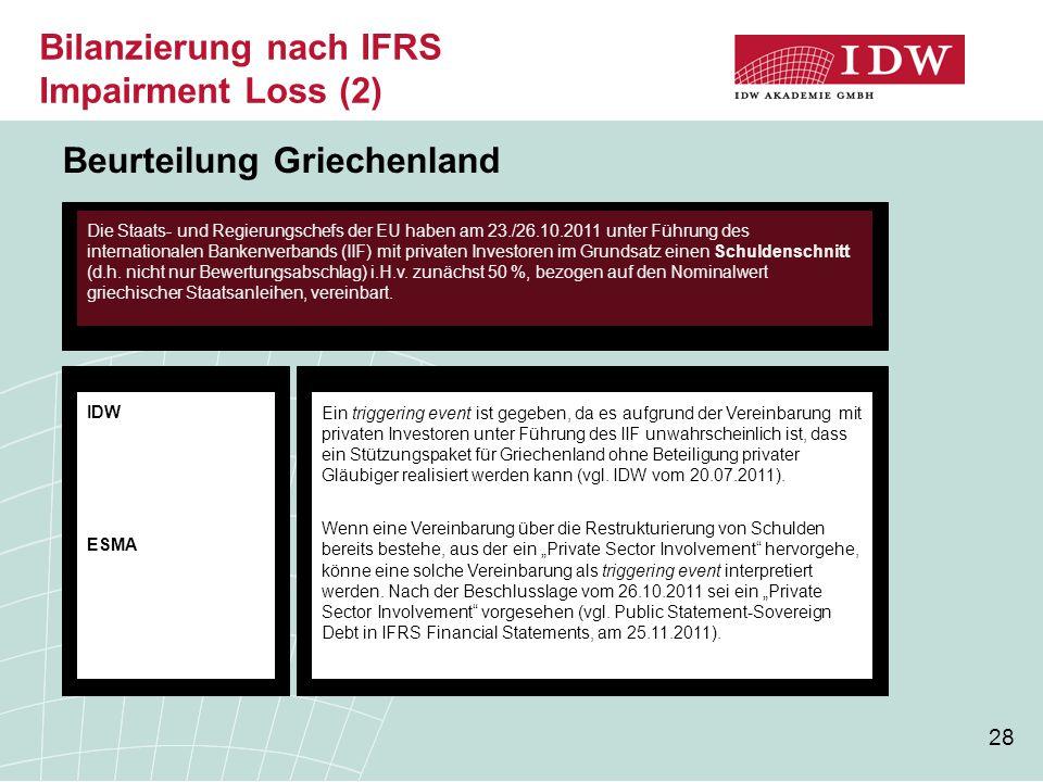 28 Beurteilung Griechenland Ein triggering event ist gegeben, da es aufgrund der Vereinbarung mit privaten Investoren unter Führung des IIF unwahrsche