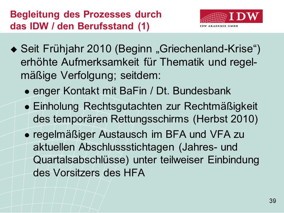 """39 Begleitung des Prozesses durch das IDW / den Berufsstand (1)  Seit Frühjahr 2010 (Beginn """"Griechenland-Krise ) erhöhte Aufmerksamkeit für Thematik und regel- mäßige Verfolgung; seitdem: enger Kontakt mit BaFin / Dt."""