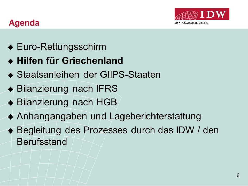 8 Agenda  Euro-Rettungsschirm  Hilfen für Griechenland  Staatsanleihen der GIIPS-Staaten  Bilanzierung nach IFRS  Bilanzierung nach HGB  Anhangangaben und Lageberichterstattung  Begleitung des Prozesses durch das IDW / den Berufsstand