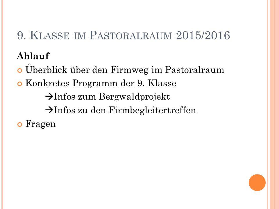 Ü BERBLICK 6.Klasse Block- unterricht Solidarität sNacht Pilgern Stern- marsch 7.