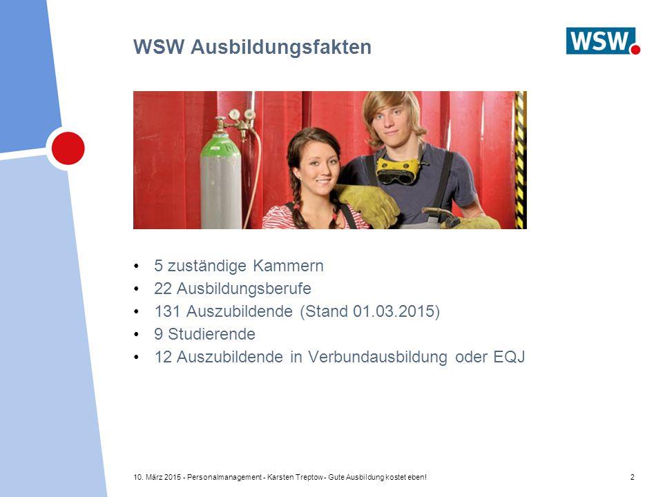 10. März 2015 - Personalmanagement - Karsten Treptow - Gute Ausbildung kostet eben!2 WSW Ausbildungsfakten 5 zuständige Kammern 22 Ausbildungsberufe 1