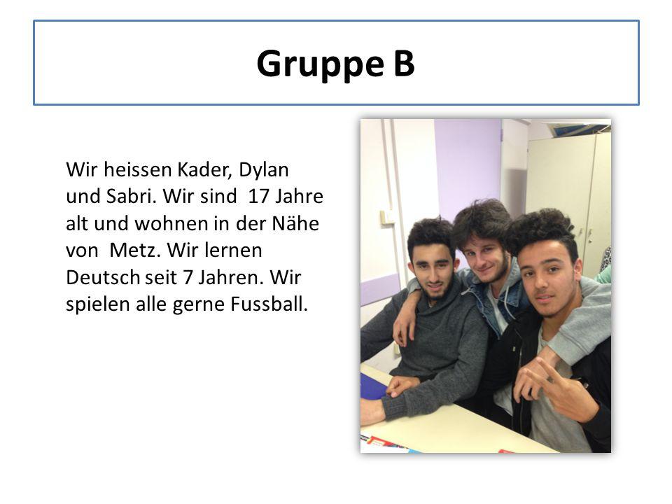 Gruppe B Wir heissen Kader, Dylan und Sabri. Wir sind 17 Jahre alt und wohnen in der Nähe von Metz.