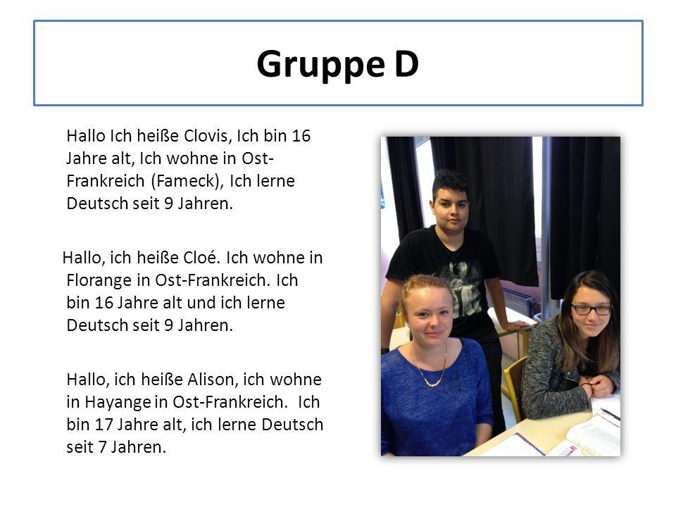 Gruppe D Hallo Ich heiße Clovis, Ich bin 16 Jahre alt, Ich wohne in Ost- Frankreich (Fameck), Ich lerne Deutsch seit 9 Jahren.