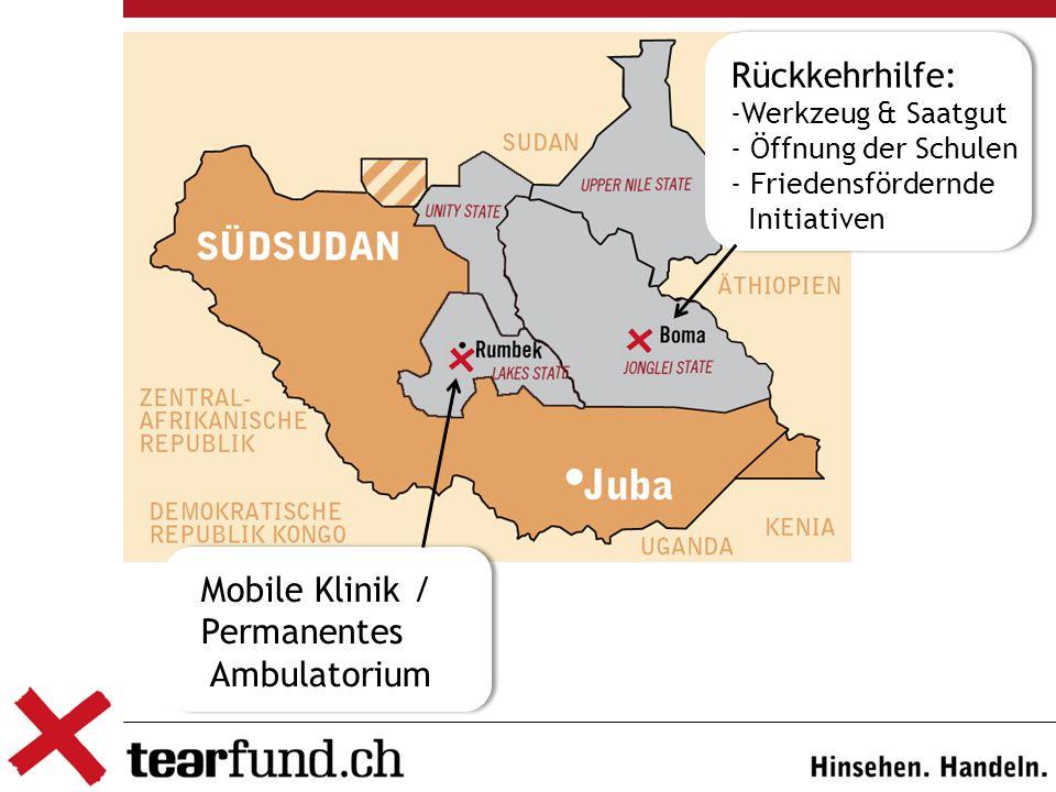 Mobile Klinik / Permanentes Ambulatorium Rückkehrhilfe: -Werkzeug & Saatgut - Öffnung der Schulen - Friedensfördernde Initiativen