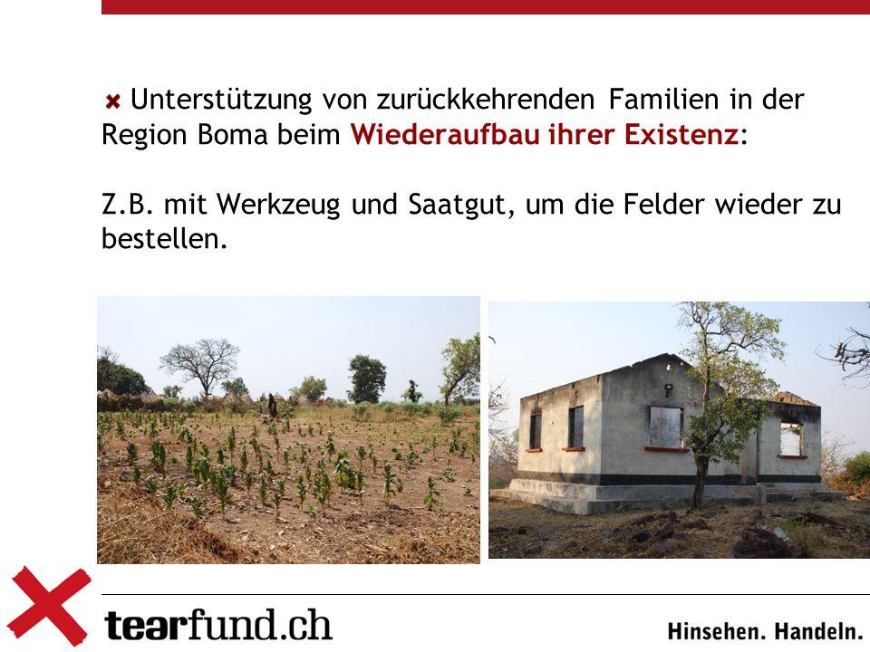 Unterstützung von zurückkehrenden Familien in der Region Boma beim Wiederaufbau ihrer Existenz: Z.B.