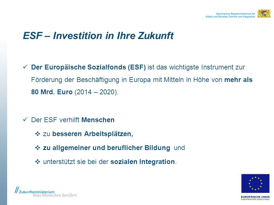 ESF – Investition in Ihre Zukunft Der Europäische Sozialfonds (ESF) ist das wichtigste Instrument zur Förderung der Beschäftigung in Europa mit Mitteln in Höhe von mehr als 80 Mrd.