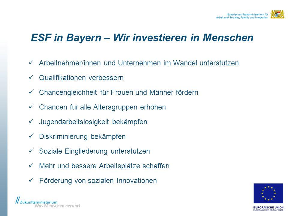 ESF in Bayern – Wir investieren in Menschen Arbeitnehmer/innen und Unternehmen im Wandel unterstützen Qualifikationen verbessern Chancengleichheit für Frauen und Männer fördern Chancen für alle Altersgruppen erhöhen Jugendarbeitslosigkeit bekämpfen Diskriminierung bekämpfen Soziale Eingliederung unterstützen Mehr und bessere Arbeitsplätze schaffen Förderung von sozialen Innovationen