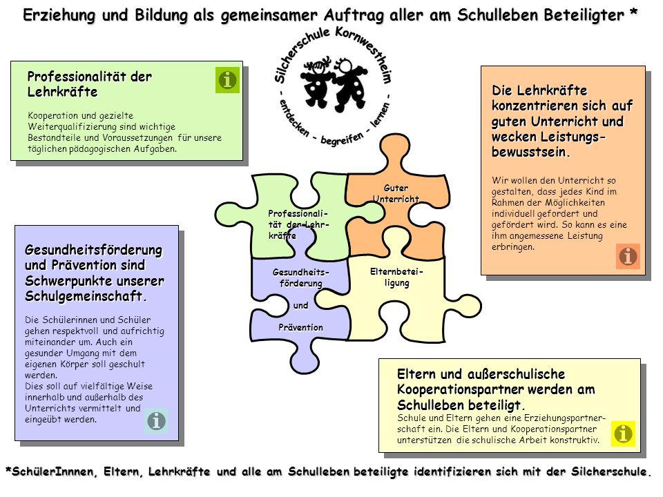 Erziehung und Bildung als gemeinsamer Auftrag aller am Schulleben Beteiligter * Die Lehrkräfte konzentrieren sich auf guten Unterricht und wecken Leis