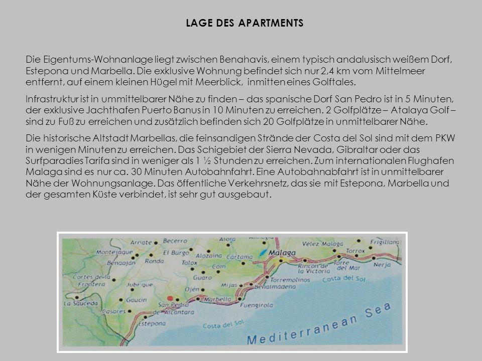 LAGE DES APARTMENTS Die Eigentums-Wohnanlage liegt zwischen Benahavis, einem typisch andalusisch weißem Dorf, Estepona und Marbella.