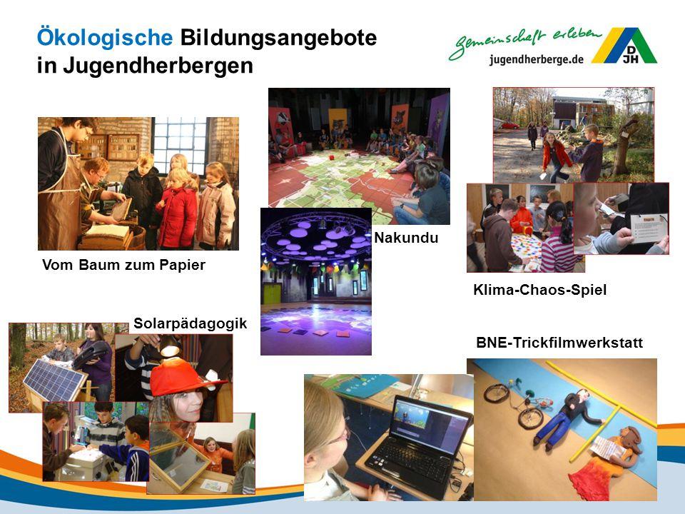 Ökologische Bildungsangebote in Jugendherbergen Vom Baum zum Papier Nakundu Solarpädagogik Klima-Chaos-Spiel BNE-Trickfilmwerkstatt