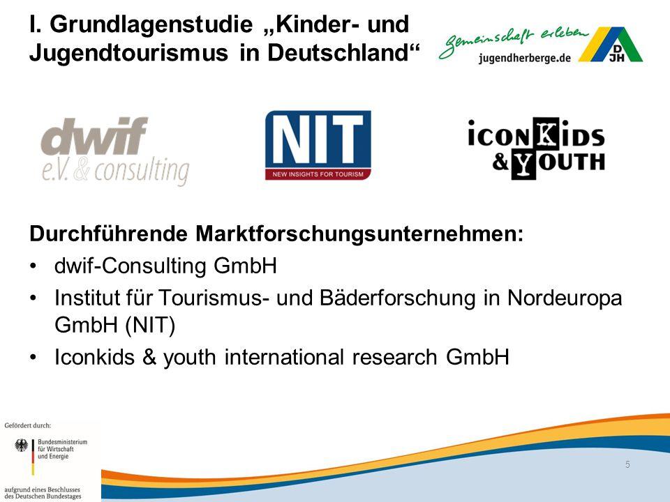 """I. Grundlagenstudie """"Kinder- und Jugendtourismus in Deutschland"""" Durchführende Marktforschungsunternehmen: dwif-Consulting GmbH Institut für Tourismus"""