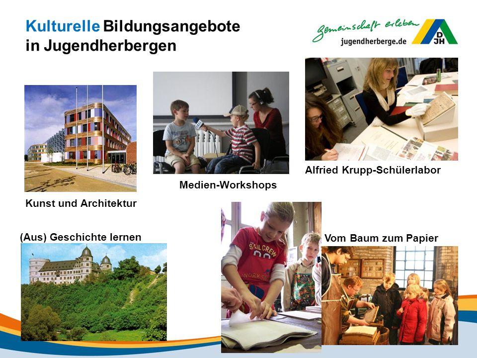 Kulturelle Bildungsangebote in Jugendherbergen Kunst und Architektur Medien-Workshops Alfried Krupp-Schülerlabor (Aus) Geschichte lernen Vom Baum zum Papier