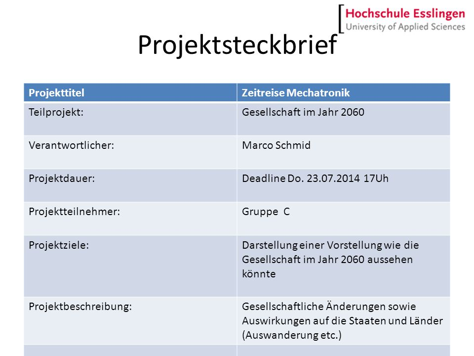 Projektsteckbrief ProjekttitelZeitreise Mechatronik Teilprojekt:Gesellschaft im Jahr 2060 Verantwortlicher:Marco Schmid Projektdauer:Deadline Do. 23.0