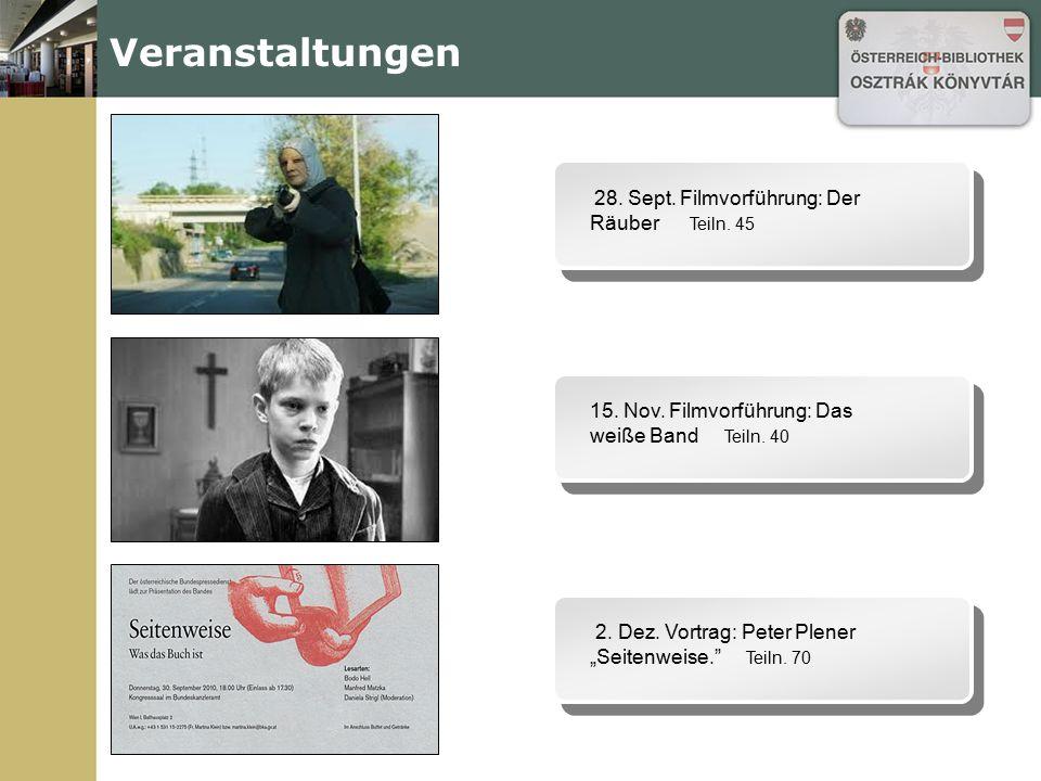 Veranstaltungen 28.Sept. Filmvorführung: Der Räuber Teiln.