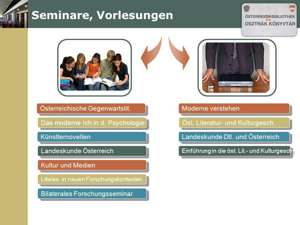 Österreichische Gegenwartslit. Seminare, Vorlesungen Das moderne Ich in d. Psychologie Künstlernovellen Landeskunde Österreich Kultur und Medien Litwi