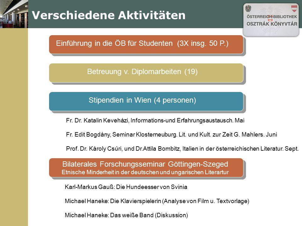 Verschiedene Aktivitäten Einführung in die ÖB für Studenten (3X insg. 50 P.)Betreuung v. Diplomarbeiten (19)Stipendien in Wien (4 personen) Karl-Marku