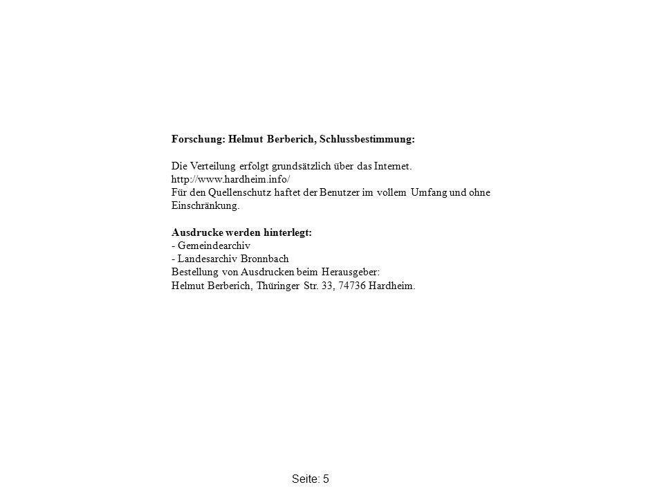 Seite: 5 Forschung: Helmut Berberich, Schlussbestimmung: Die Verteilung erfolgt grundsätzlich über das Internet.