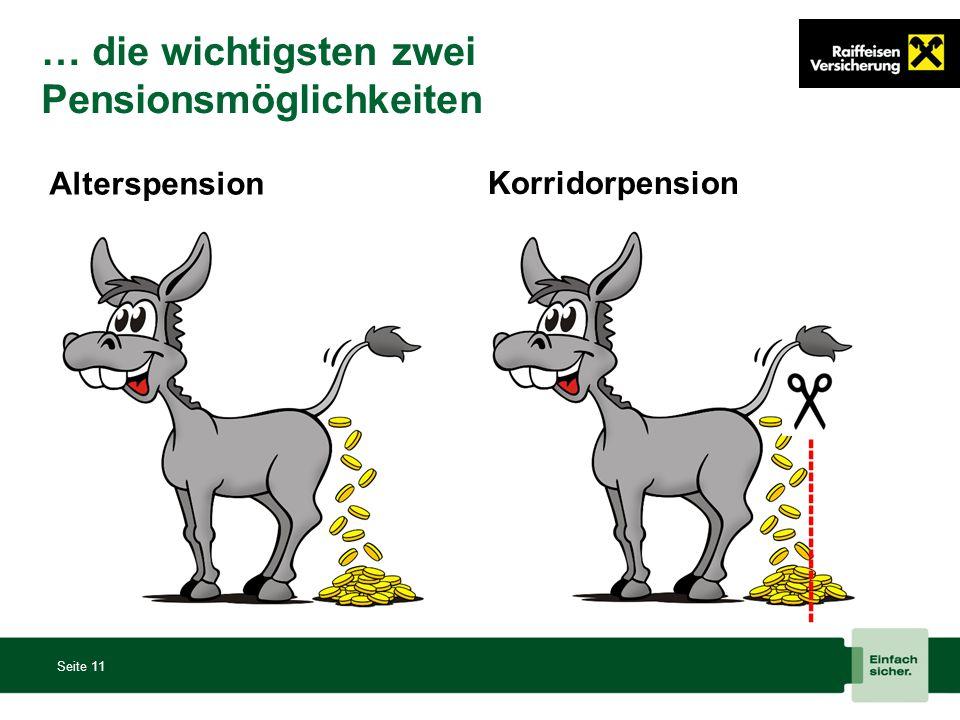 … die wichtigsten zwei Pensionsmöglichkeiten Seite 11 Alterspension ----------------- Korridorpension