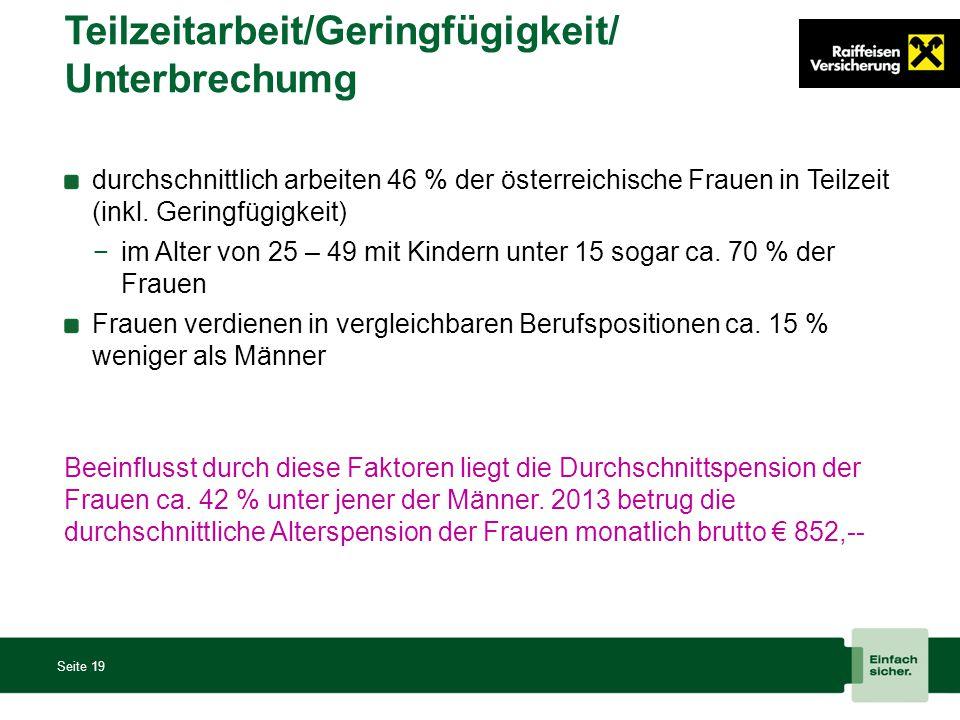 Teilzeitarbeit/Geringfügigkeit/ Unterbrechumg Seite 19 durchschnittlich arbeiten 46 % der österreichische Frauen in Teilzeit (inkl. Geringfügigkeit) −