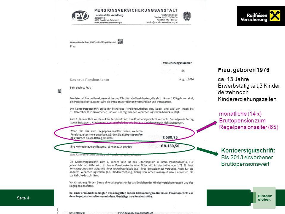 Seite 4 Kontoerstgutschrift: Bis 2013 erworbener Bruttopensionswert monatliche (14 x) Bruttopension zum Regelpensionsalter (65) Frau, geboren 1976 ca.