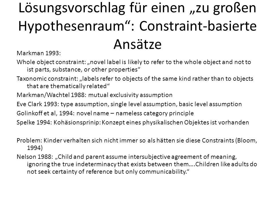 """Lösungsvorschlag für einen """"zu großen Hypothesenraum"""": Constraint-basierte Ansätze Markman 1993: Whole object constraint: """"novel label is likely to re"""