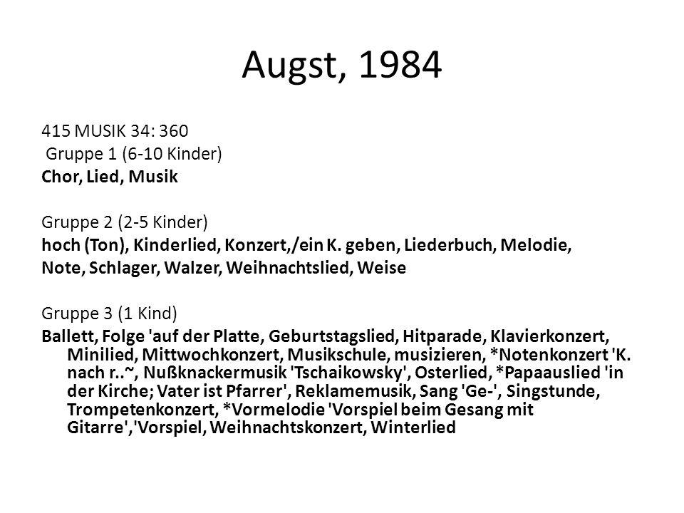 Augst, 1984 415 MUSIK 34: 360 Gruppe 1 (6-10 Kinder) Chor, Lied, Musik Gruppe 2 (2-5 Kinder) hoch (Ton), Kinderlied, Konzert,/ein K. geben, Liederbuch