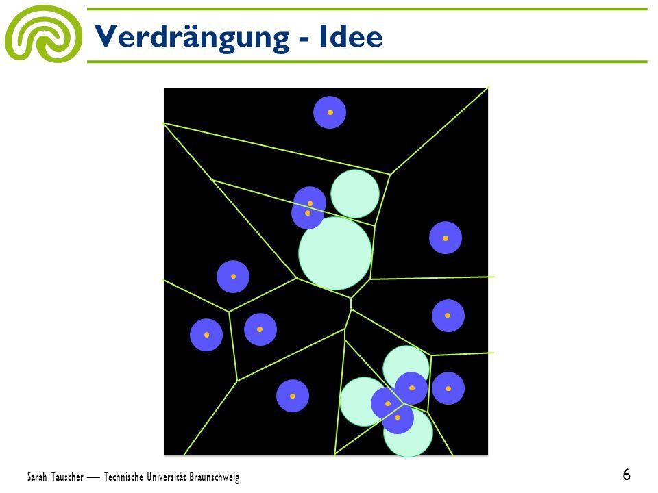 Ort ist Schwerpunkt seiner Zelle Gleichmäßige Verteilung der Orte im Raum, abhängig von Dichtefunktion Anwendungen – Komprimierung – Auswahl von Messpunkten – Aufteilen von Flächen Schwerpunkt-Voronoi-Diagramme 7 Sarah Tauscher — Technische Universität Braunschweig