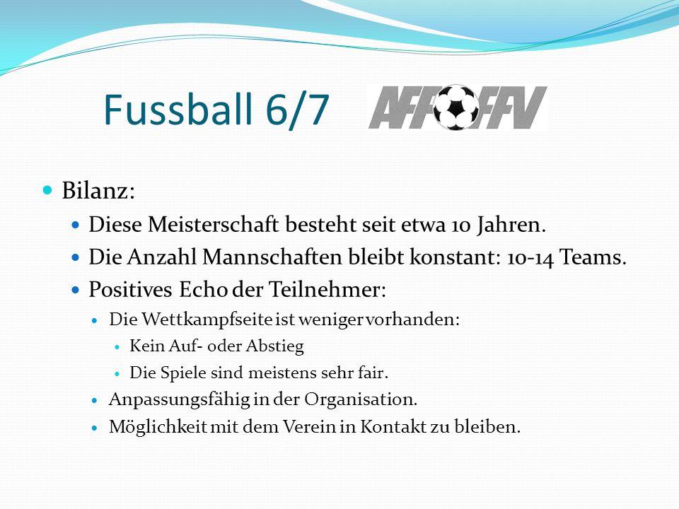 Fussball 6/7 Bilanz: Diese Meisterschaft besteht seit etwa 10 Jahren.