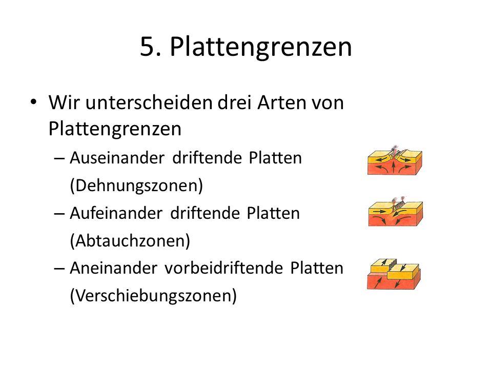 5. Plattengrenzen Wir unterscheiden drei Arten von Plattengrenzen – Auseinander driftende Platten (Dehnungszonen) – Aufeinander driftende Platten (Abt
