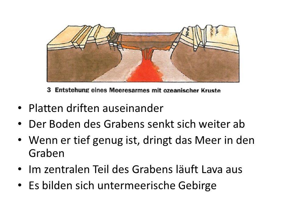 Platten driften auseinander Der Boden des Grabens senkt sich weiter ab Wenn er tief genug ist, dringt das Meer in den Graben Im zentralen Teil des Gra