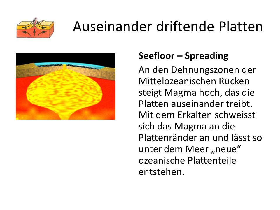 Seefloor – Spreading An den Dehnungszonen der Mittelozeanischen Rücken steigt Magma hoch, das die Platten auseinander treibt. Mit dem Erkalten schweis