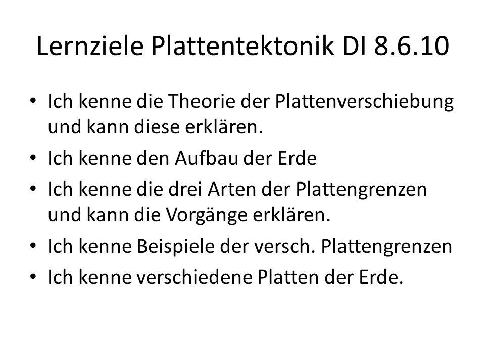 Lernziele Plattentektonik DI 8.6.10 Ich kenne die Theorie der Plattenverschiebung und kann diese erklären. Ich kenne den Aufbau der Erde Ich kenne die