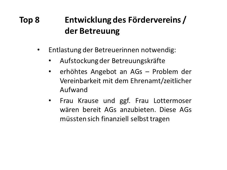 Top 8Entwicklung des Fördervereins / der Betreuung Entlastung der Betreuerinnen notwendig: Aufstockung der Betreuungskräfte erhöhtes Angebot an AGs – Problem der Vereinbarkeit mit dem Ehrenamt/zeitlicher Aufwand Frau Krause und ggf.